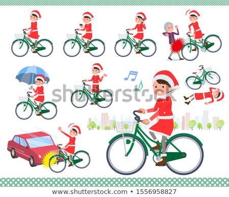 bicicleta · foto · feliz · papai · noel · vermelho - foto stock © toyotoyo