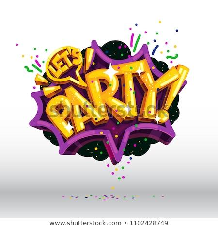 Stockfoto: Partij · typografie · illustratie · woorden · ingericht · confetti