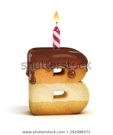 Foto stock: Carta · aniversário · fonte · vela · aniversário · alfabeto