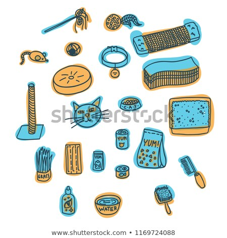 mouse of blue color cats toy vector illustration stock photo © robuart
