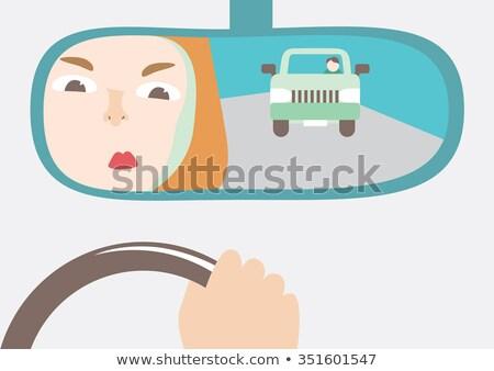 Cartoon colère voiture de course pilote femme regarder Photo stock © cthoman