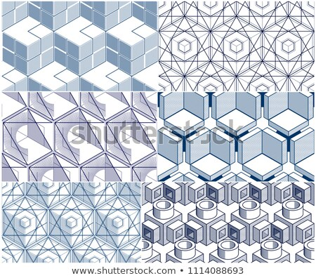 geometric black and white seamless pattern 3d boxes repeat back stock photo © kayros