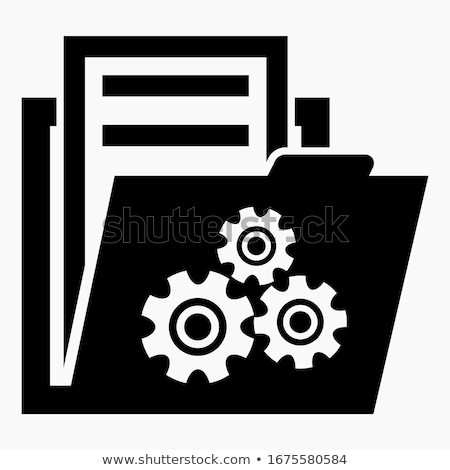 Folder Icon with settings cogs or gears, system preferences icon in trendy flat style isolated on wh stock photo © kyryloff