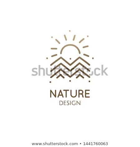 Triángulo paisaje logo montana sol vector Foto stock © blaskorizov