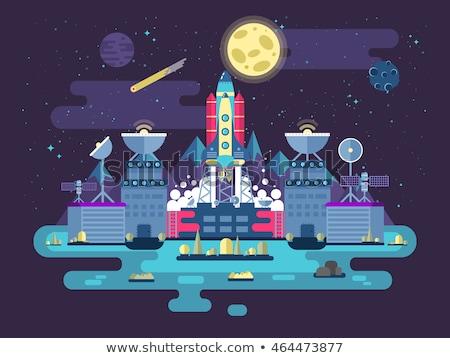 Space shuttle illustration. Stock illustration in flat design style. Stock isolated on dot backgroun Stock photo © JeksonGraphics