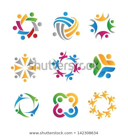 Foto stock: Logotipo · pessoas · grupo · equipe · vetor · símbolo