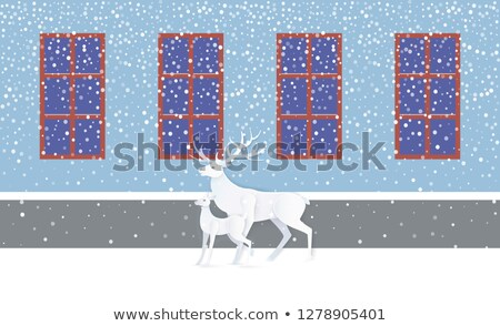 deer and fawn near wall with windows snow vector stock photo © robuart
