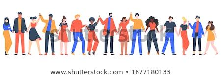 Ludzi przyjaźni cztery 3D trzymając się za ręce Zdjęcia stock © make