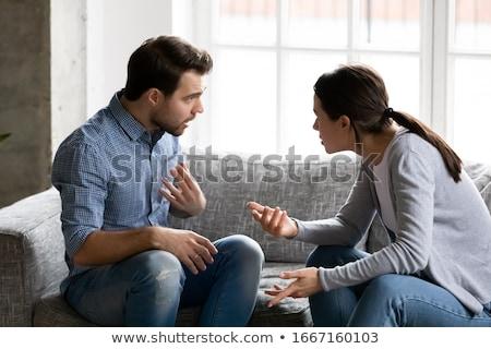 Family scandal. wife yelling at husband Stock photo © studiostoks