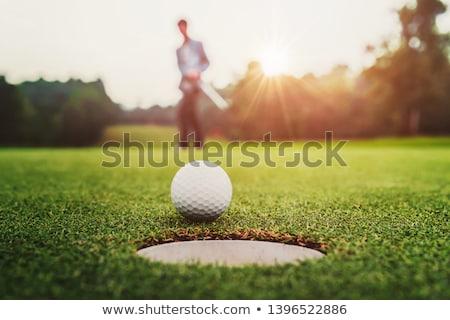 Femenino golfista pelota agujero hermosa pelota de golf Foto stock © Kzenon