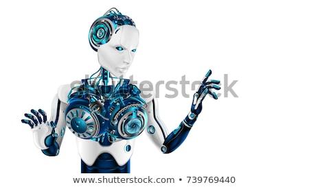 Humanoid robot kattintás kirakat levegő 3d illusztráció Stock fotó © limbi007