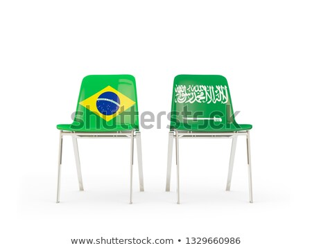 Kettő székek zászlók Brazília Szaúd-Arábia izolált Stock fotó © MikhailMishchenko