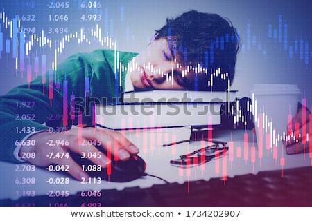 üzletember alszik táblázatok grafikonok jelentések fiatal Stock fotó © ra2studio