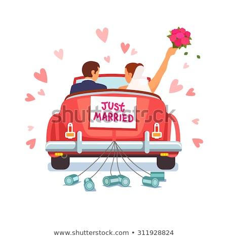 Menyasszony friss házasok pop art retro klasszikus giccs Stock fotó © studiostoks