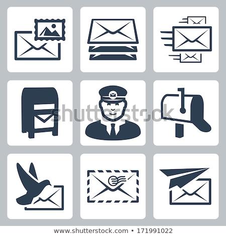 Iroda papír bélyeg dobozok ikon vektor Stock fotó © robuart