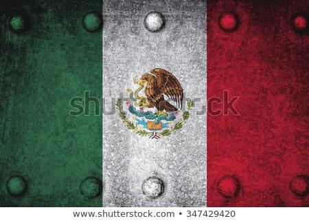 México bandera metal marco ilustración diseno Foto stock © colematt