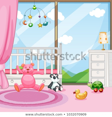 Bedroom scene with babycot and dolls Stock photo © colematt