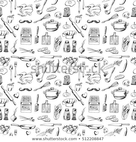 Cottura set pattern utensili da cucina eps Foto d'archivio © netkov1