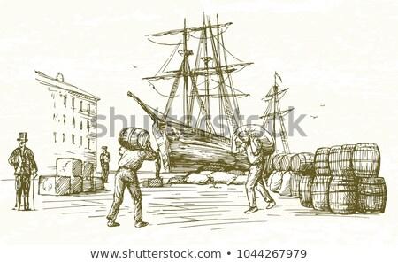 Vintage грузовое судно ретро ретро-стиле иллюстрация груза Сток-фото © patrimonio
