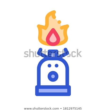 gaz cylinder with fire for cooking vector icon stock photo © pikepicture