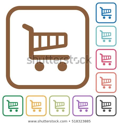 Egyszerű bevásárlókosár ikonok tér terv színes Stock fotó © blumer1979