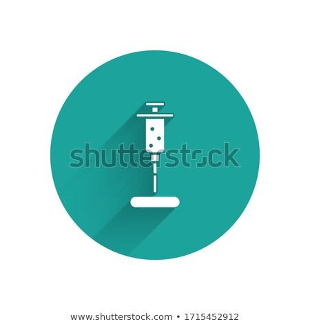 Syringe icon with shadow on a green circle. Vector pharmacy illustration Stock photo © Imaagio
