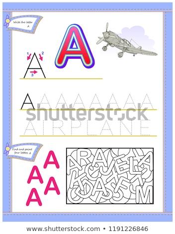 English alphabet picture letter for children. English language abc. Owl teacher holds an apple Stock photo © orensila