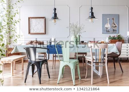 Kleurrijk dining stoelen witte meubels interieur Stockfoto © magraphics