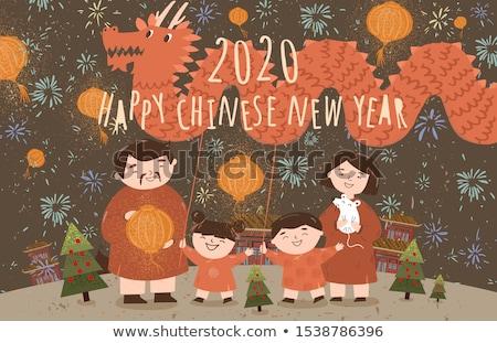 Gelukkig nieuwjaar ontwerp meisje rat illustratie kinderen Stockfoto © bluering