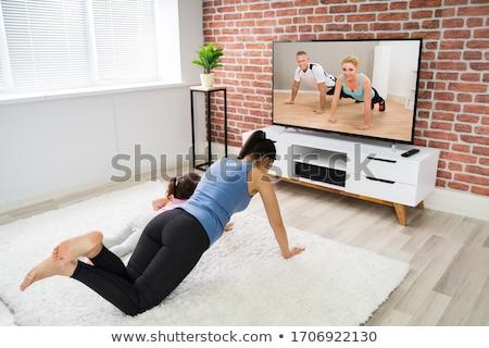 Aile çevrimiçi uygunluk aerobik antreman televizyon Stok fotoğraf © AndreyPopov