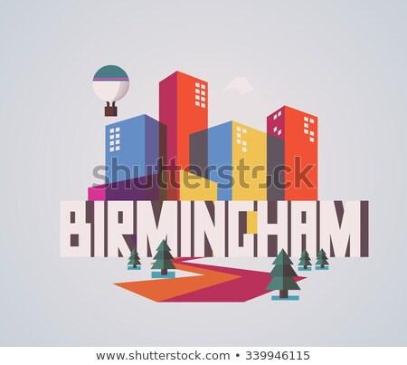 Rajz Birmingham sziluett sziluett város Anglia Stock fotó © blamb