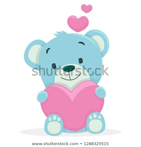 Girl Getting Kiss From A Teddy Bear Stock photo © stuartmiles