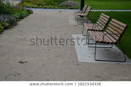 blue red bench with black and white view stock photo © morrbyte