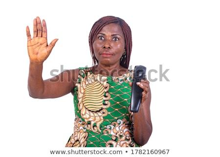 vrouw · handen · omhoog · jonge · vrouw · jeans · shorts · geïsoleerd - stockfoto © acidgrey