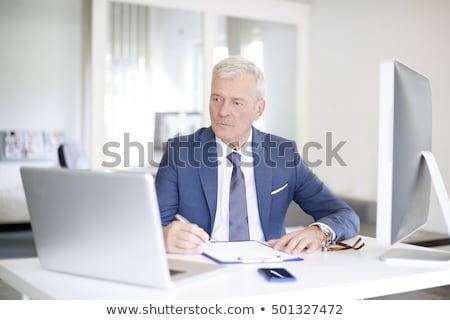 Biznesmen pracy laptop starszy siwe włosy laptop Zdjęcia stock © lunamarina