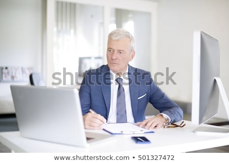 zakenman · werken · laptop · senior · grijs · haar · laptop · computer - stockfoto © lunamarina