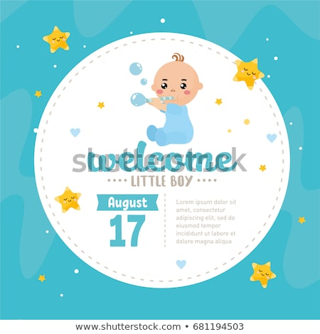 Grappig baby jongen aankondiging kaart meisje Stockfoto © balasoiu