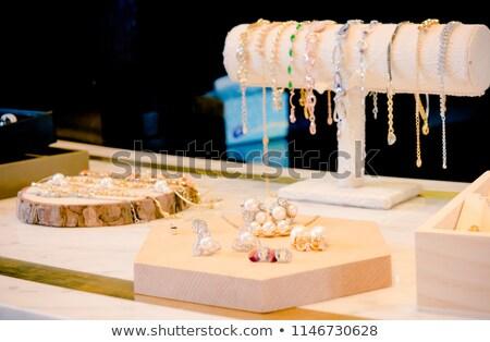 Bolt ablak gyönyörű luxus ékszerek nő Stock fotó © tannjuska