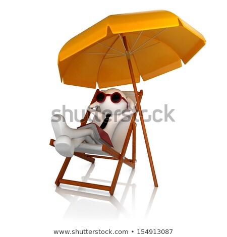 The 3D little businessman on a beach. stock photo © karelin721