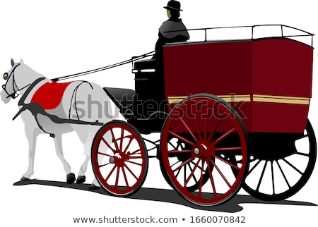 London post horse cab with driver isolated on white Stock photo © leonido