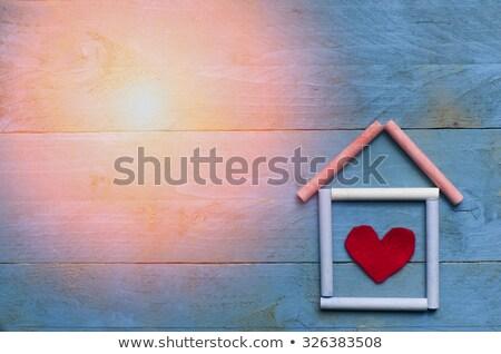Kép absztrakt ház kézzel készített papír építkezés Stock fotó © djemphoto