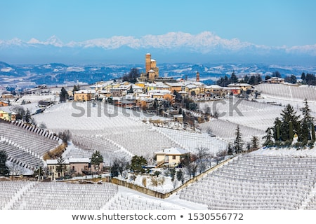Small town on the hill covered by snow. Piedmont, Italy. Stock photo © rglinsky77