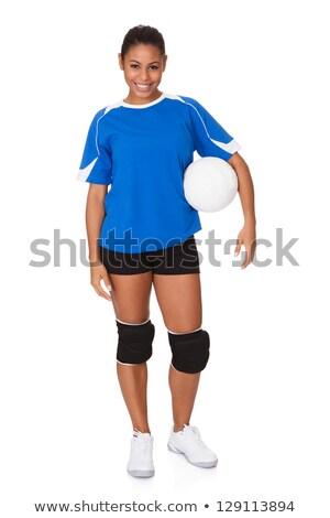 Retrato femenino voleibol jugador aislado blanco Foto stock © AndreyPopov