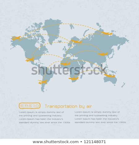 world transportation map with airplanes eps 10 vector format stock photo © ratch0013