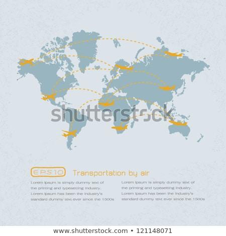 Wereld vervoer kaart vliegtuigen eps 10 Stockfoto © ratch0013