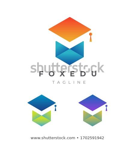 Fox diplômé illustration rouge école graduation Photo stock © adrenalina