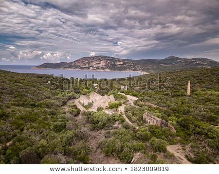 Antigua edificio costa córcega turquesa mediterráneo Foto stock © Joningall
