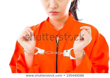 Stock foto: Jungen · asian · Frau · stehen · einheitliche · orange