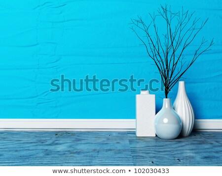Dekoratív modern üveg váza izolált fehér Stock fotó © Anterovium