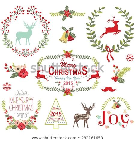 Noel · çelenk · yay · arka · plan · kırmızı - stok fotoğraf © voysla